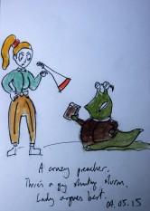 04.05.15 - A crazy preacher. There's a guy shouting slurm. Lady argues best.